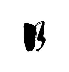 letter b handwritten by dry brush rough strokes vector image