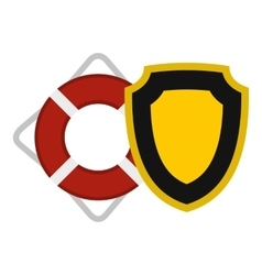 Lifebuoy and shield icon flat style vector