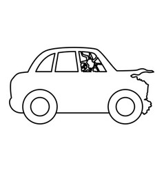line crash car and dangerous automobile accident vector image