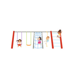 Little kids having fun on playground children vector