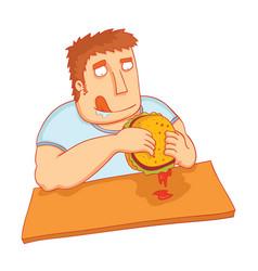 man eat big tasty burger vector image