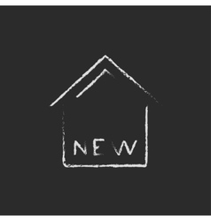 New house icon drawn in chalk vector