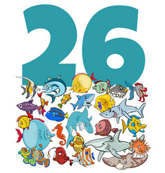 Number twenty six and cartoon fish group vector