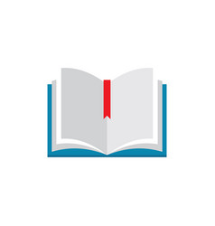 Open book with bookmark - concept icon in flat vector