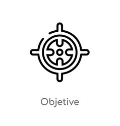 Outline objetive icon isolated black simple line vector