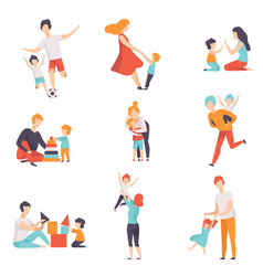 parents and their kids having good time together vector image