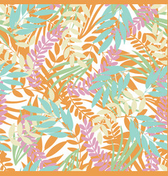 pastel tropical leaves on white background vector image