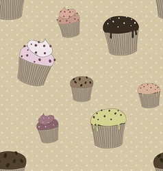 Pattern with cakes vector image