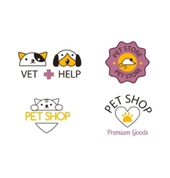 Pet shop symbols set vector image