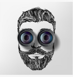 Photo camera lenses instead eyes on face vector