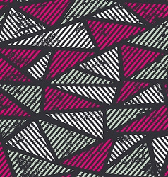 pink triangle seamless pattern with grunge effect vector image