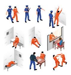 Prison isometric set vector