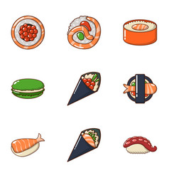 raw fish icons set cartoon style vector image