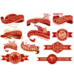 Red christmas banner set vector
