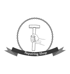 Repair workshop hand with a hammer logo vector image