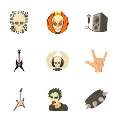 Rock riot icons set cartoon style vector