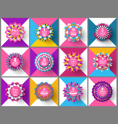 Round origami with flowers womens day vector