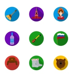 Russia country set icons in flat style Big vector image