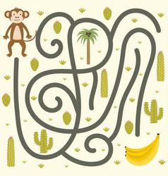 safari maze game for kids help monkey find vector image