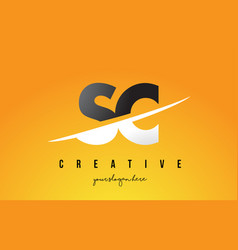 Sc s c letter modern logo design with yellow vector