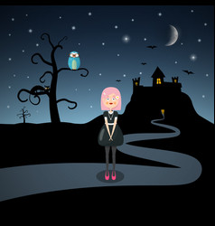 scary landscape with emo girl cat owl on tree and vector image