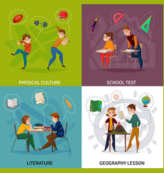 School students cartoon design concept vector