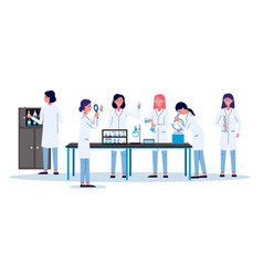 scientists women or laboratory employees - flat vector image