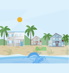 Sea shore village flat style vector