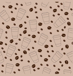 seamless pattern on brown background with coffee vector image