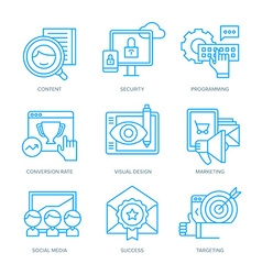 SEO and Digital Marketing Icons vector image