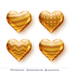 set of 3d hearts with golden patterns vector image