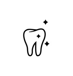 shining tooth health dent flat icon vector image