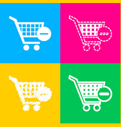 shopping cart with remove sign four styles vector image