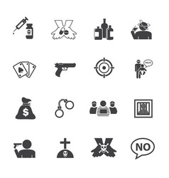 Simple drug and crime icons set flat design vector