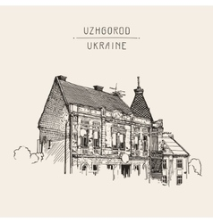 sketch of Uzhgorod cityscape Ukraine town vector image vector image