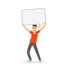 Smiling man character holding empty message board vector