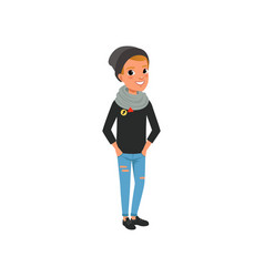 stylish teen boy dressed in black sweater hat vector image