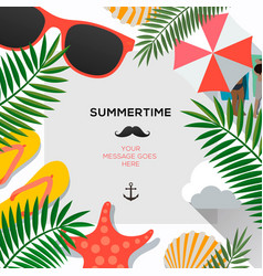 Summer poster with tropical leaves and summer vector