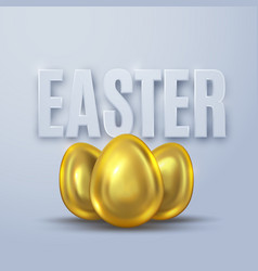 three golden eggs for easter vector image