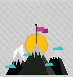Three mountains with snow goes up beyond small vector