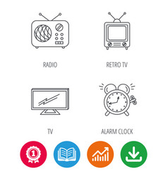 Tv retro radio and alarm clock icons vector
