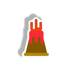 Volcano sticker volcano eruption and magma vector