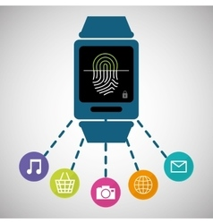 Wearable technology smartwatch password secure vector