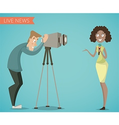 Woman reporter and camera man vector