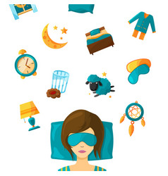 woman sleep in mask and elements set for dream vector image