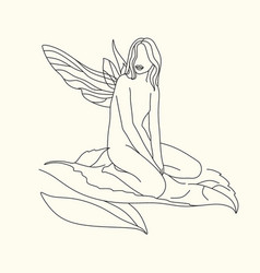 womans head with wings one line drawing art vector image