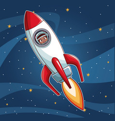astronaut girl on spaceship cartoon vector image