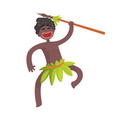 funny black skinned aboriginal warrior with weapon vector image vector image
