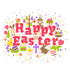 happy easter label isolated on white background vector image vector image
