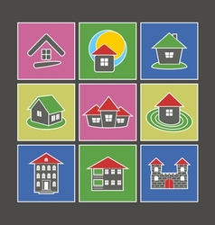Icons of houses vector image vector image